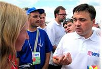 Мария Карпинская берет интервью у Андрея Воробьёва