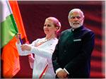Мария Карпинская и команда НПТМ-TV на встрече с премьер-министром Индии Шри Нарендра Моди